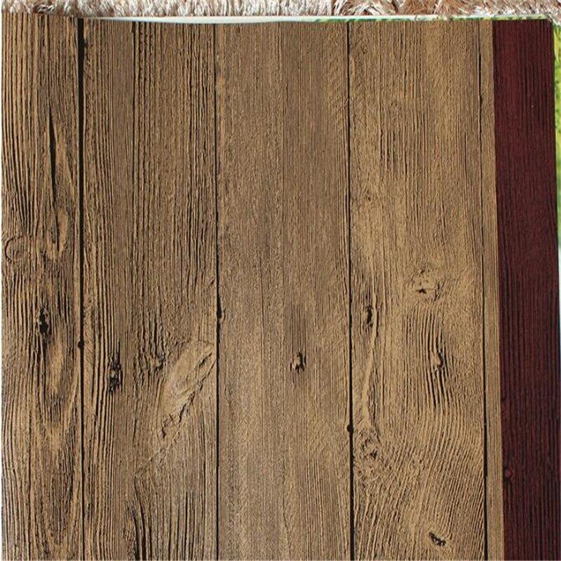 Beibehang Imitation bois-grain bois plancher papier peint style chinois rétro bois texture bar restaurant vêtements magasin vente en gros res - 2