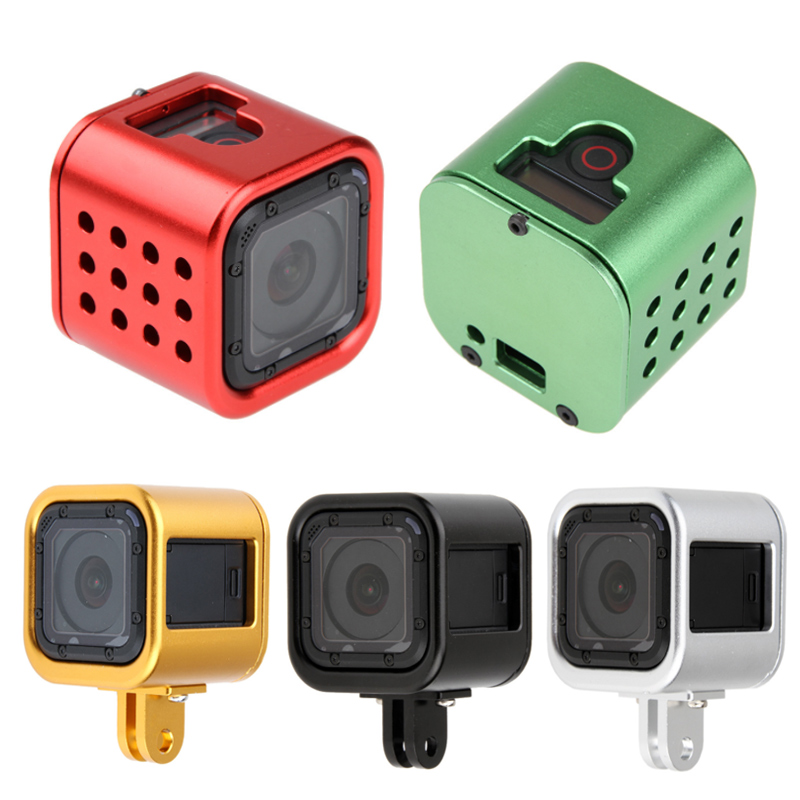 Housing Shell CNC Aluminum Alloy Protective Cage with Insurance Back Cover for GoPro HERO5 Session //HERO4 Session//Hero Session Durable Color : Green