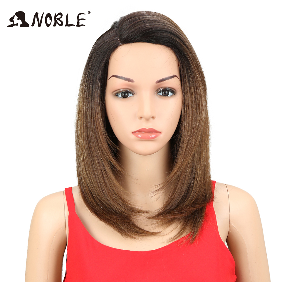 Noble Hair 18inch Silky Middle Part Straight Synthetic Lace Front Wig Glueless Heat Resistant Fiber Hair For black Women Wigs