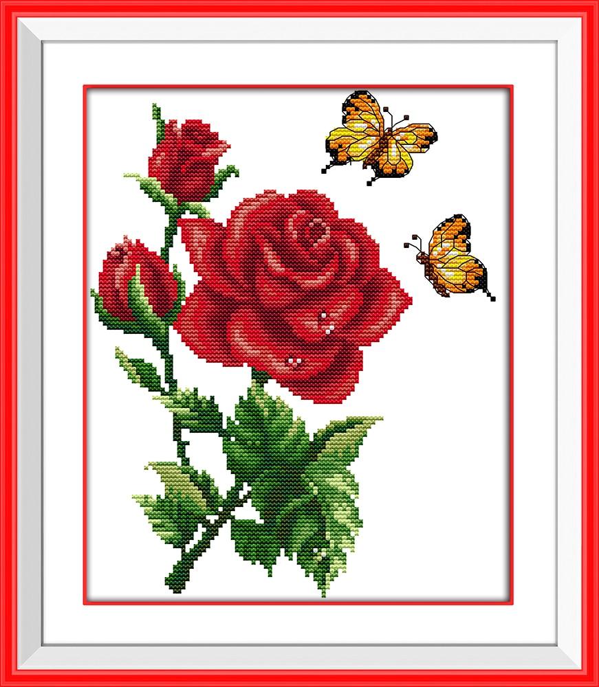 Gioia domenica di stile del fiore farfalle su fiori bella for Schemi punto croce fiori e farfalle