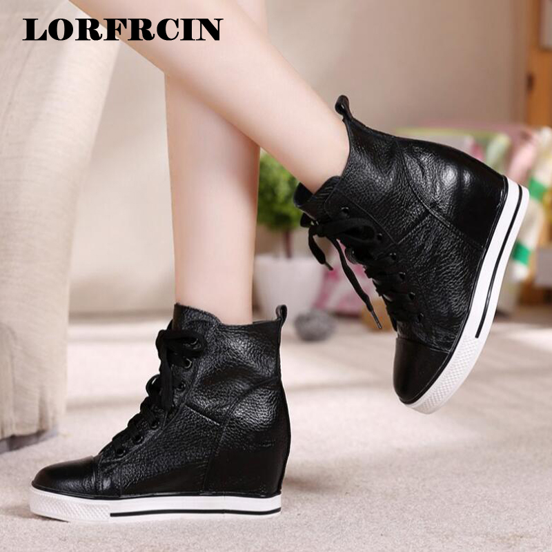 d2357252609e Genuine Leather Women Boots Height Increasing Platform Ankle Boots Wedges  High Top Sneaker Casual Shoes Woman