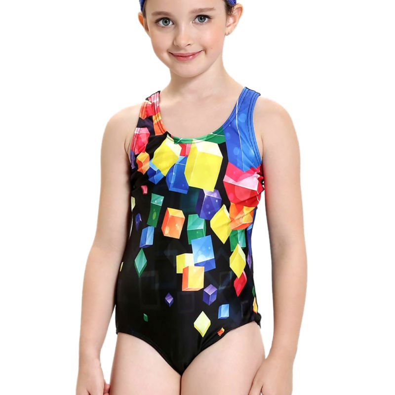 One Piece Swimsuit Children Swimwear Pro Beach Bathing Lovely Printing 4-12 Years Kids G ...