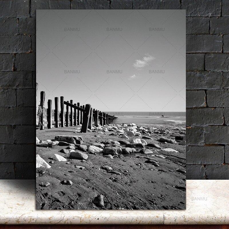 Obrazy na plátně Nástěnné obrazy Skandinávská krajina na pláži Severská abstraktní Obývací pokoj Umělecká dekorace Obrázky Tisknout Bez rámečku