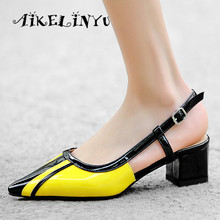 AIKELINYU New Fashion Women's Sandals Comfortable High Quality Genuine Leather Pointed End Shoes Mixed Color Buckle Strap Sandal keerygo new high end leather comfortable feet sandals classic sandals