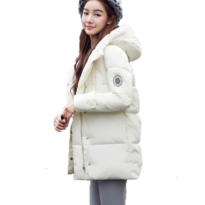 ФОТО 2017 winter coat  plus size down cotton-padded jacket medium-long with a hood wadded jacket  cotton-padded jacket female