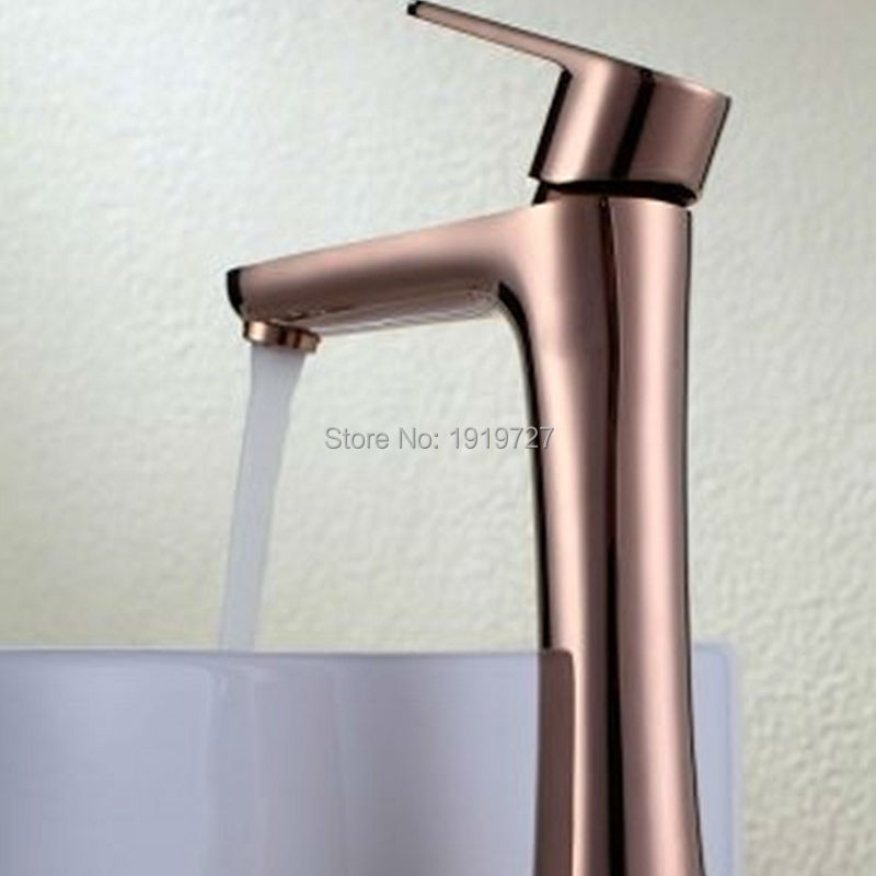 Factory Direct 100% Lead Free Tall Single Handle Bathroom Basin Faucets Solid Brass Red Gold-Plated Rose Gold Mixer Taps цена