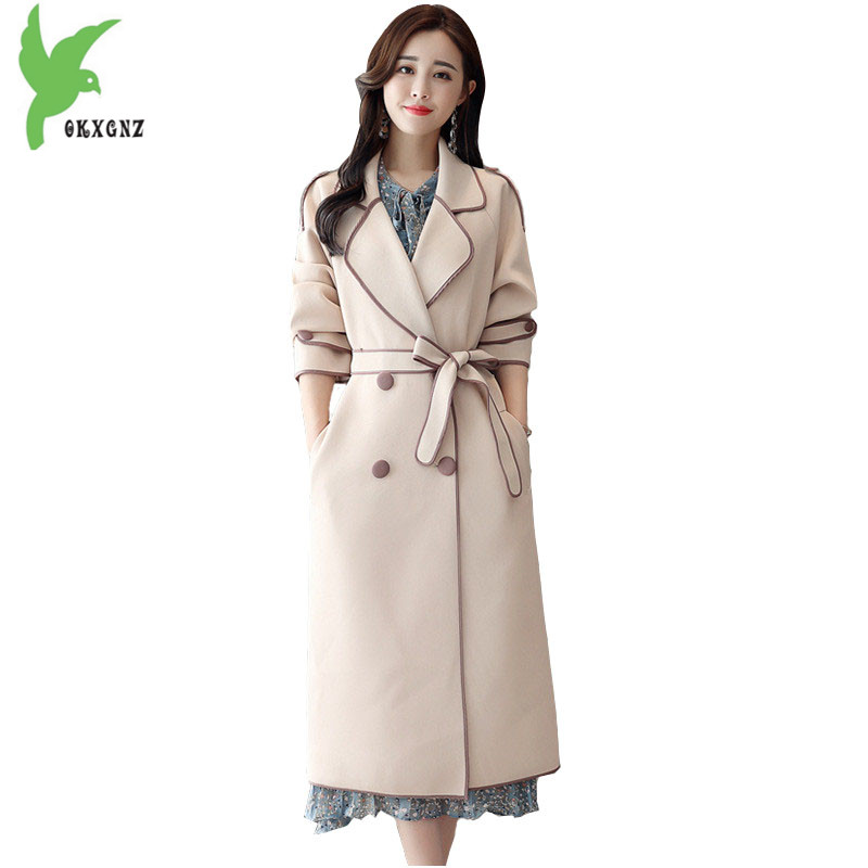 Trench   coat for Womens 2018 New Spring Autumn Double-breasted Windbreaker Female Belt Slim Coat Plus size Long   Trench   Tops A2070