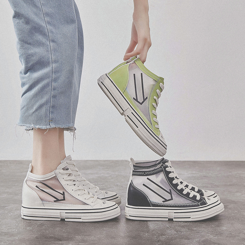 RY РЕЛА/Модная женская обувь на высоком каблуке; Новинка 2019 года; сетчатая дышащая повседневная спортивная обувь красного цвета - 3
