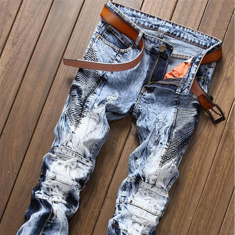 New fashion clothing designer pants destroyed mens slim denim straight biker skinny jeans men ripped jeans Male Boys