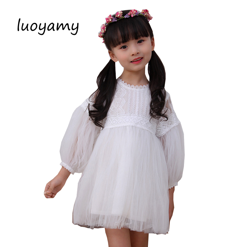 luoyamy Spring Summer Baby Chiffon Lace Patchwork Dress Girls Zipper Dress Kids Graduation Gowns Children Clothing Prom Dresses luoyamy 2017 summer style girls children striped patchwork dress baby party next clothing kids princess cute dresses