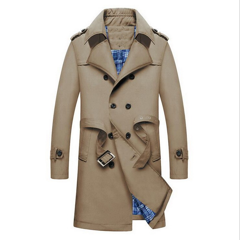 VXO 2019 British Slim Double Breasted Mens Long Trench Coat Trenchcoat Jacket Male