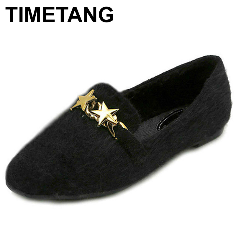 TIMETANG 2018 Fashion Winter Flat Shoes Women Big Size 42 43 Plush Inside Ladies Flats Metal Decoration Spring Womens Shoes C096 new 2017 spring summer women shoes pointed toe high quality brand fashion womens flats ladies plus size 41 sweet flock t179
