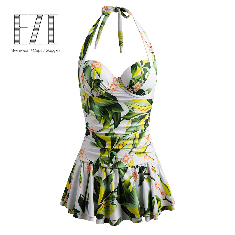 <font><b>2018</b></font> <font><b>Sexy</b></font> <font><b>One</b></font> <font><b>Piece</b></font> <font><b>Swimsuit</b></font> Women Swimwear Green Print Bodysuit Bandage Cut Out Surmmer Beach <font><b>Bathing</b></font> Swim Monokini <font><b>Swimsuit</b></font> image