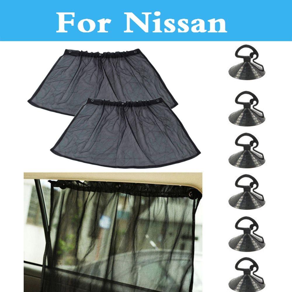 2PCS Car 70CMx38CM Window Mesh Curtain Sunshade Black For Nissan 350Z 370Z AD Almera Classic Altima Armada Avenir Juke Nismo