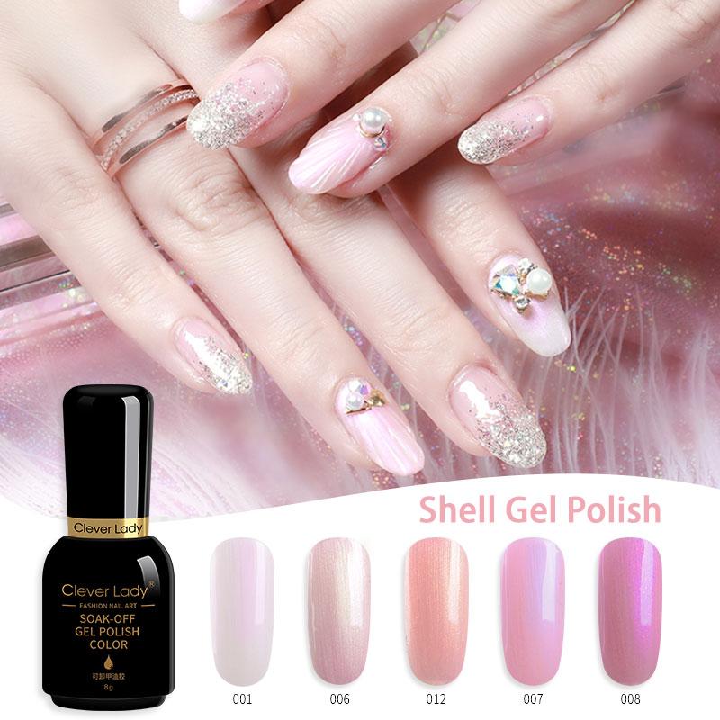 Clever Lady 8ml Shell uv color gel nail polish pearl lacquer glitter varnish esmalte permanente vernis semi permanant