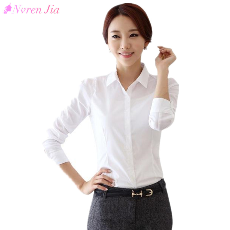 69d9f399947 2018 Fashion White Shirt Women Work Wear Long Sleeve Female Office Blouse  Tops Slim Women Formal Blouses Shirts Cheap Blusas
