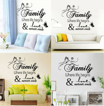 2019 Art Decor Family Love Stickers Wall Quote Removable Home Decals Mural Decoration