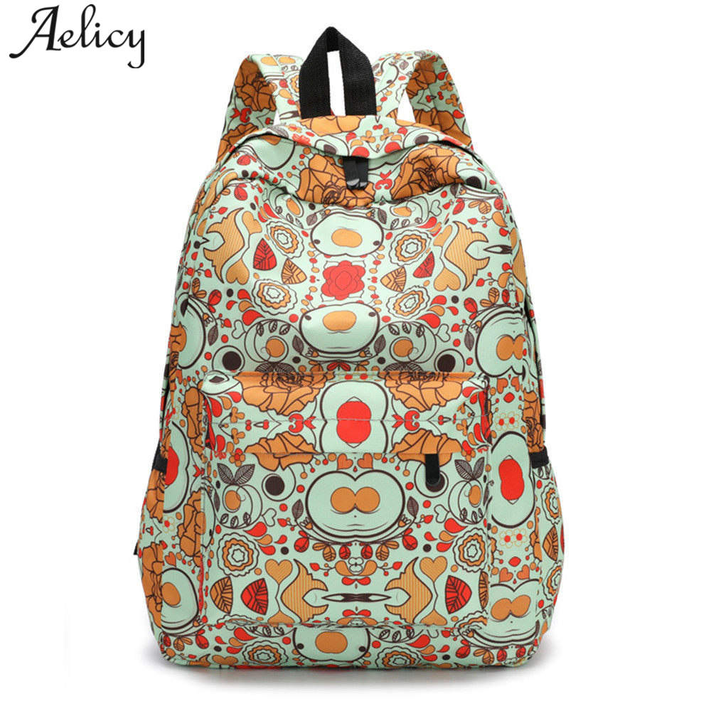 Aelicy Luxury Fresh Style Women Backpacks Floral Print Bookbags Backpack School Bag For Girls Rucksack Female Travel Backpack fresh style stand collar elk print fleeced pullover sweatshirt for women