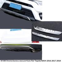 ВЕРХНЯЯ ПЕРЕДНЯЯ + Задняя ABS Хромированная защитная накладка на бампер накладка полоски на педали Накладка для Toyota RAV4 2016 2017 2018