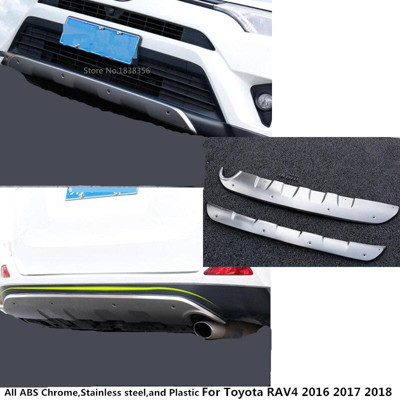 Top avant + arrière ABS chrome bumper protector plaque de protection pare-chocs garde hayon pédale Bande garniture partie pour Toyota RAV4 2016 2017 2018