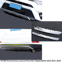 Top front+rear ABS chrome bumper protector skid plate bumper guard tailgate pedal Strip trim part for Toyota RAV4 2016 2017 2018