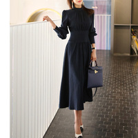 Office Ladies Stand Collar Lantern Sleeve Women Dress Elegant Slim Waist A line Ruched Female Long Dress Party Vestidos femme
