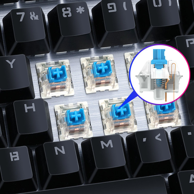 Gaming Mechanical Keyboard Blue Switch Wired Desktop Notebook USB Esports Punk Lol Metal Panel Keyboard Plating Metal Button 4