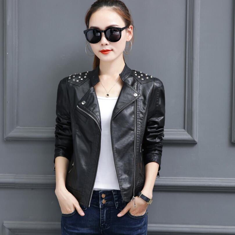Selling 2018 New Women   Leather   Jacket Spring Autumn Brand Clothing Fashion Slim Sheep   Leather   Jacket Women Locomotive Black Coat