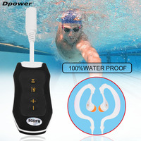 Dpower 8GB Waterproof Portable MP3 Mini Mp3 Player Music FM Radio For Swimming Diving Hiking With