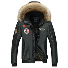2017 New Winter Army Military Jacket Men Outwear Thick Warm Fur Collar Parka Hooded Coat Cotton-Padded Pilot Bomber Jackets 4XL