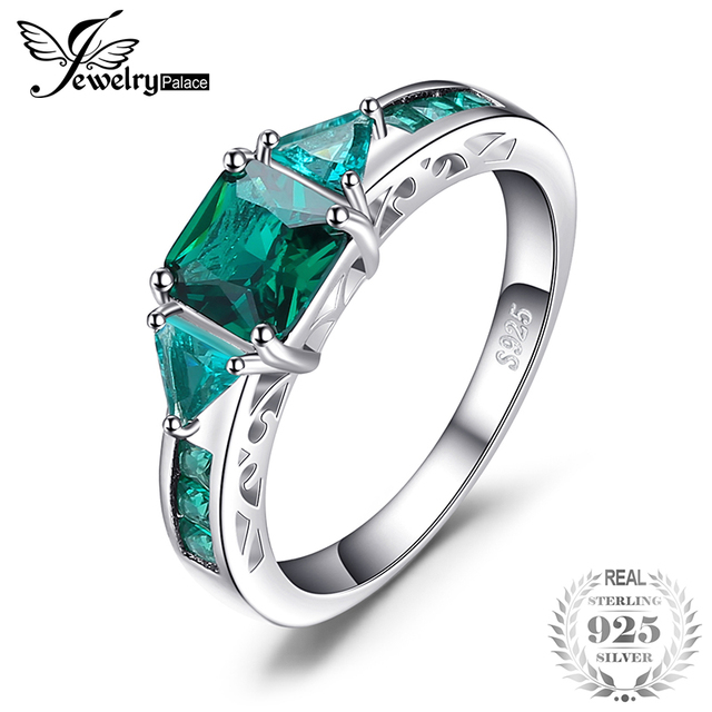 JewelryPalace Caved 1.3ct Nano Russian Simulated Emerald Statement Ring 925 Ster