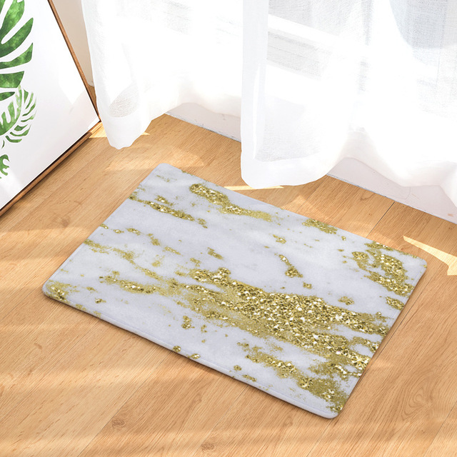 Cammitever Luxsury Marble White Black Gold Carpet Bedroom Mat Rug For Living Room Rugs Kids Whole