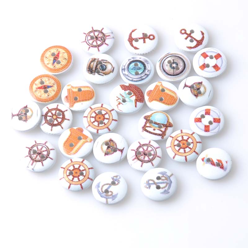 50pcs 15mm Mixed anchor/rudder/ship painted Round Wooden buttons For sewing Crafts and Scrapbooking MT1096X