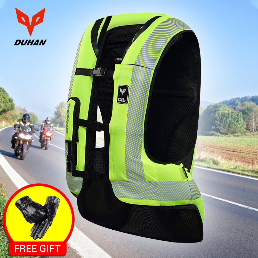DUHAN Moto Air-sac Gilet veste de Moto Avancée Air Sac Système équipement de protection Réfléchissante Moto Airbag Moto Gilet #