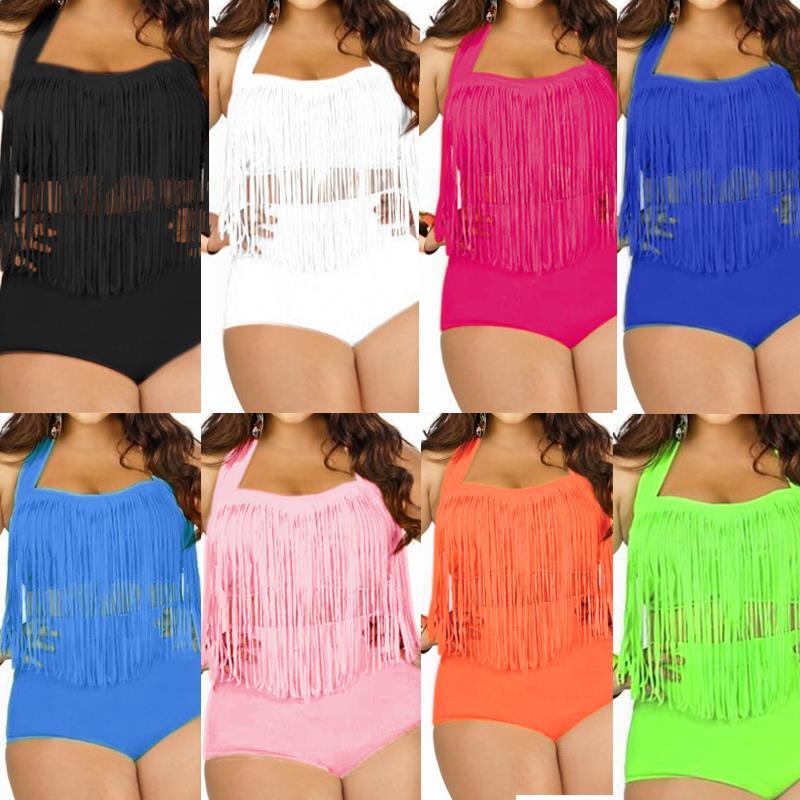 2016 New Womens/ Ladies Sexy Bathing Suit Plus Size High Waist Swimwear Bikini Sets Tassels Push Up Bra Swimsuit