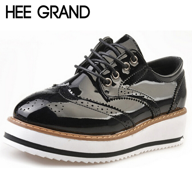 HEE GRAND England Style Women Shoes Trifle Oxfords Carved Vintage Bullock Shoes Woman Lace-up Fashion Platform Creppers XWD4395