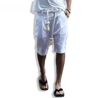 Newest men summer thin sexy linen shorts with waist rope mens harajuku casual punk short homme rock skate harem shorts