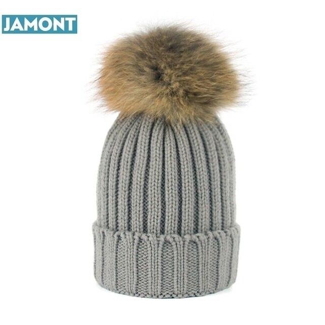 JAMONT 2018 Menina Moda Inverno Verdadeira Pele De Guaxinim Chapéus De Pele 15 cm pompom Gorros Cap Chapéu De Pele Naturais Para A Mulher W220