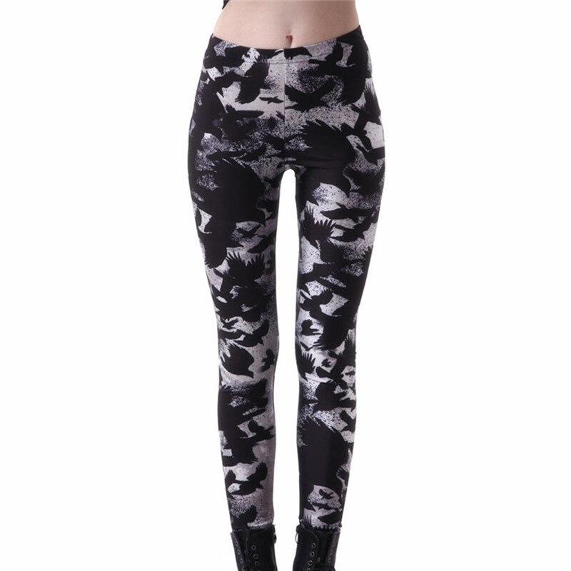 Plus Size Women Workout Leggings Fitness Leggins Black Milk Crow Digital Print Leggins High Waist Slim Sexy Legins Trouser Pants