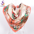 Autumn Winter Beige Square Scarves 90*90cm New Accessories Flowers Pattern Ladies Silk Scarf Tippet Printed