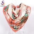 Otoño Invierno Beige Square Bufandas 90*90 cm Nuevos Accesorios Flores Patrón Ladies Tippet Bufanda de Seda Impresa
