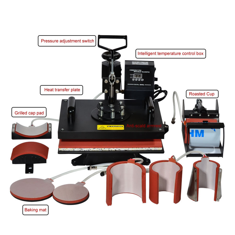 1pc 8 In 1 Combo Heat Transfer Machine Sublimation/Heat Press Machine For Plate/Mug/Cap/TShirt /Phone case 110/220V