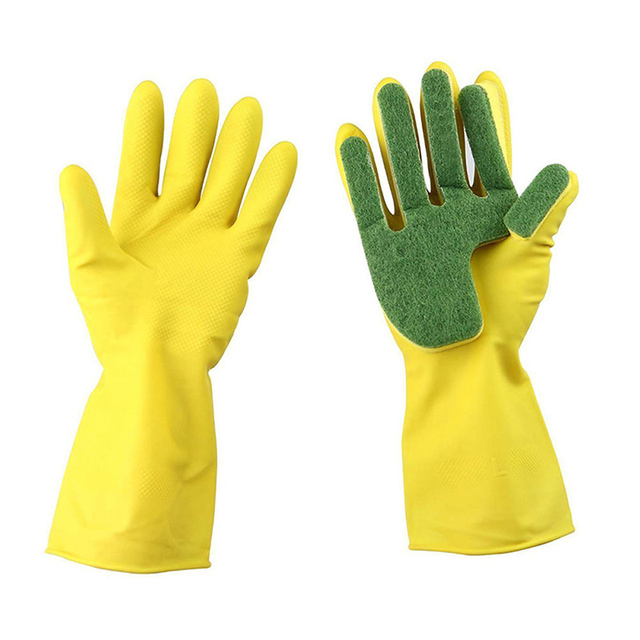 1 Pair Reusable Household Cleaning Glove Kitchen Dish -8214