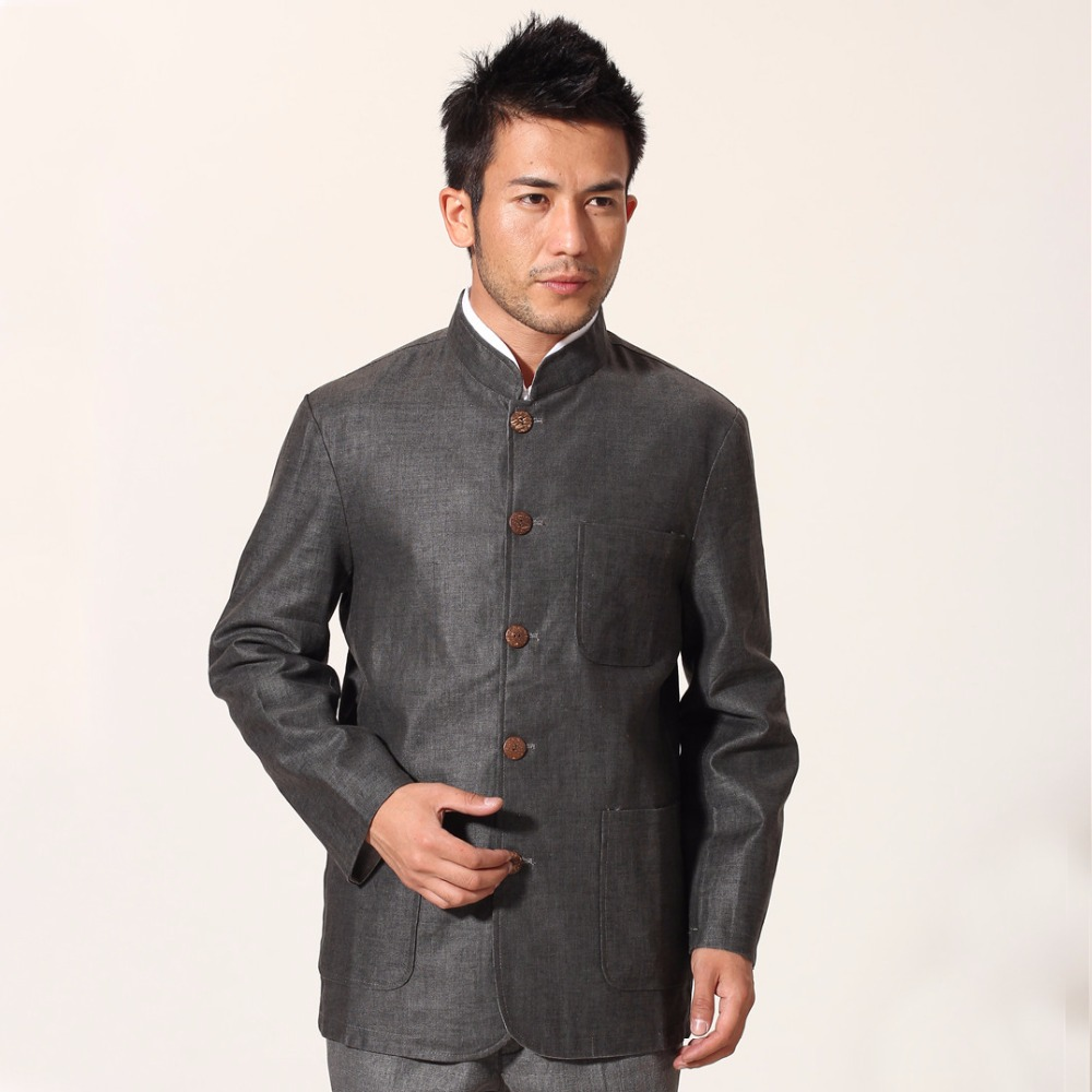 Solid Grey Beige Reverside Cotton Linen Male Jacket Chinese Tai Chi Men Mandarin Collar Coat Tops