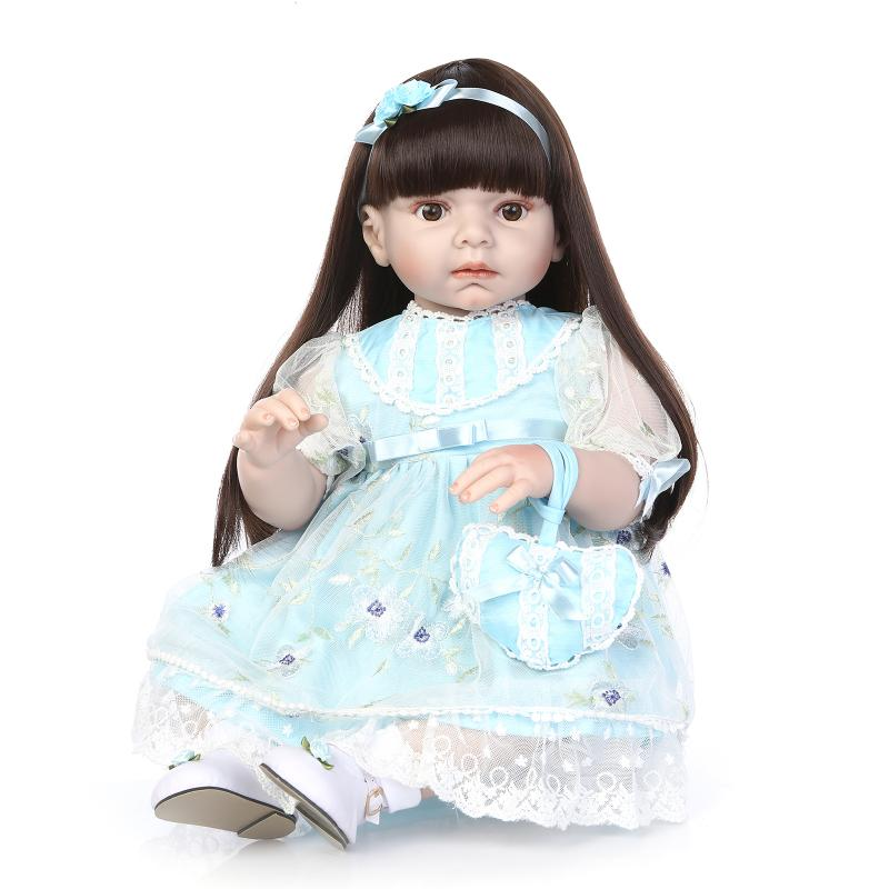 70cm Silicone Reborn Baby Doll Big Safety Silicone Princess Girl Reborn Dolls Toys Cloth Shop Model Doll Collection Bedtime Toy  70cm silicone reborn baby doll toys lifelike 28 inch big size princess toddler girl reborn dolls toys clothing shop model doll