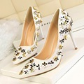 2017 New Spring Elegant Pumps Women Thin Heeled Sweet Girl Flower Sequin Shallow Female High-heeled Shoes Pointed Heels G336-1