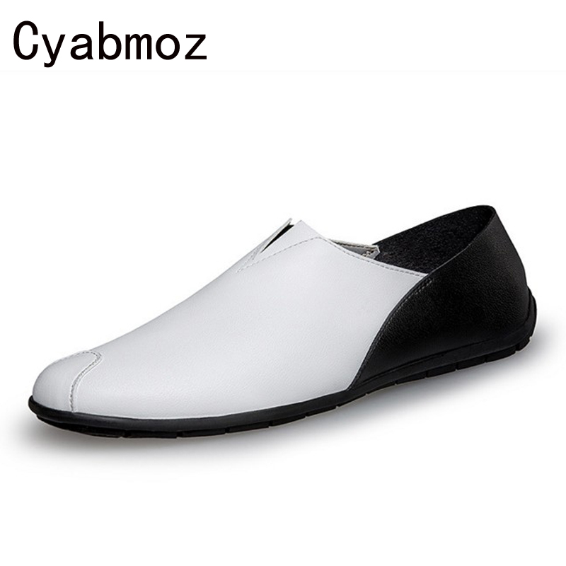 new 2018 Fashion Leather Slip On Men Shoes Spring Summer Comfortable Casual loafers Driving Moccasins Shoes Lazy Flat Boat Shoes ceyue handmade leather men shoes casual luxury brand men loafers fashion breathable driving shoes slip on stylish flat moccasins