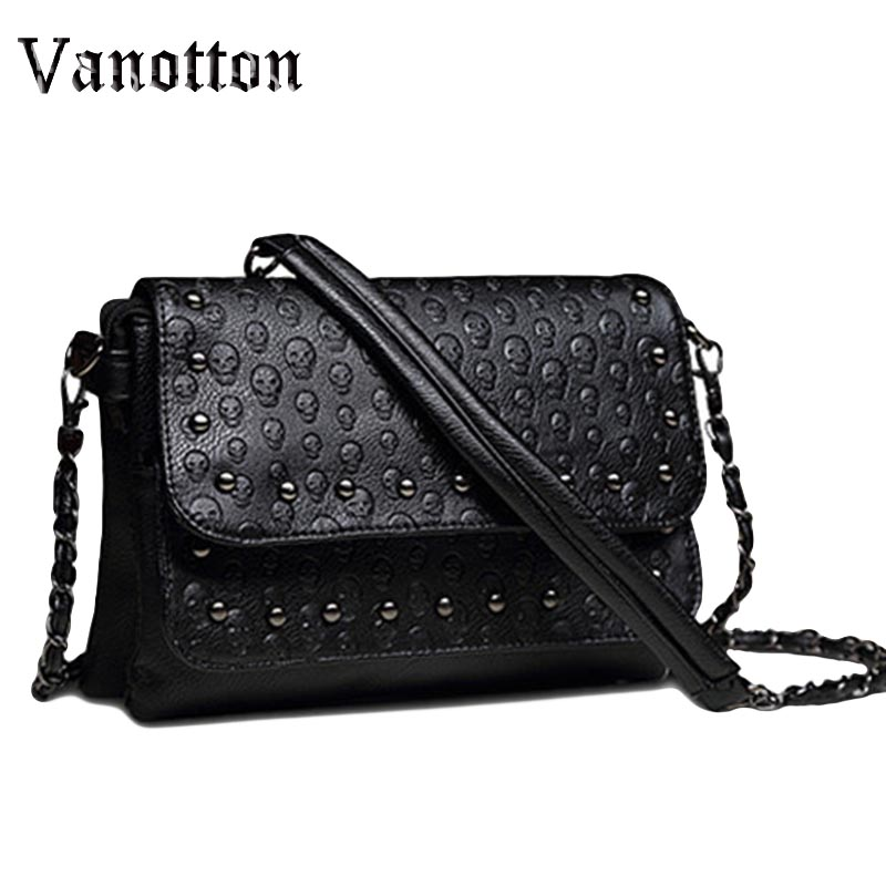 2017 Gothic Rivet Messenger Bags Women Brand Clutches Skull Crossbody Bag Small Shoulder Bag Sac A Main Soft Leather Handbags big fashion women messenger bags soft pu black leather handbags crossbody bag for women girl summer clutches envelope small bag