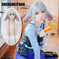 SHENGMEIYUAN Zootopia Judy Hopps Rabbit Wig Korean Girl Same style Silver 90cm Long Straight hair Anime Cosplay Wigs free ship
