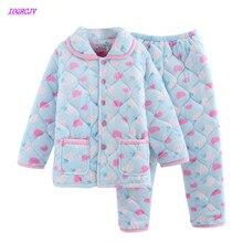 С длинными рукавами брюки женские пижамные комплекты три полы утолщаются теплый Пижамный костюм фланелевая домашняя мебель обслуживание повседневное хлопковое пальто 75